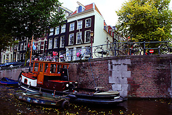 House boat on an Amsterdam canal.