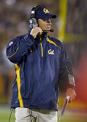 September 17, 2010; Reno, NV, USA; California Golden Bears head coach Jeff Tedford watches from the sidelines during the second quarter against the Nevada Wolf Pack at Mackay Stadium. Nevada defeated California 52-31.