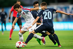 Lazaros Lamprou of Panionios GSS vs Dejan Zigon of Gorica during 2nd Leg football match between ND Gorica (SLO) and Panionios GSS (GRE) in 2nd Qualifying Round of UEFA Europa League 2017/18, on July 20, 2017 in Nova Gorica, Slovenia. Photo by Vid Ponikvar / Sportida