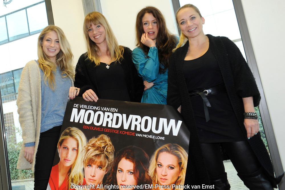 Perspresentatie van De Verleiding van een Moordvrouw van Rick Engelkes Producties in Amsterdam.<br /> <br /> Op de foto:  Sarah Chronis , Nienke R&ouml;mer , Sanne Vogel en Camilla Siegertsz