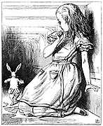 Illustration by John Tenn iel for 'Alice's Adventures in Wonderland' by Lewis Carroll (London, 1865). Alice, having eated the cake labelled 'Eat me' grows very tall an cannot follow the White Rabbit.