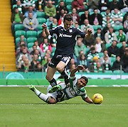 Dundee&rsquo;s Paul McGinn and Celtic&rsquo;s Emilio Izaguirre  - Celtic v Dundee - Ladbrokes Premiership at Celtic Park<br /> <br /> <br />  - &copy; David Young - www.davidyoungphoto.co.uk - email: davidyoungphoto@gmail.com