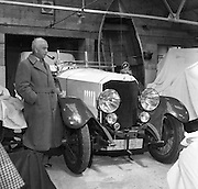 Motorcycle manufacturer John Ellis with one of his veteran cars at Straffan House, Co Kildare..23.05.1961