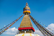 The Eyes of Buddha on the Boudhanath stupa in Kathmandu, Nepal.