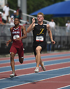 Jun 22, 2019; Miramar, FL, USA; Matthew Boling wins the 100m in a wind-aided 10.15 during the USATF U20 Championships at Ansin Sports Complex.