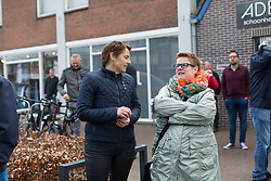 Members of public wait for the podium ceremony after Stage 1a of the Healthy Ageing Tour - a 16.9 km time trial, starting and finishing in Leek on April 5, 2017, in Groeningen, Netherlands.