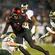 26 November 2016: The San Diego State Aztecs football team closes out the season at home against Colorado State.  San Diego State wide receiver Mikah Holder (6) completes a pass for a first down into the Rams redzone in the second quarter. The Aztecs trail the Rams 42-24 at halftime. www.sdsuaztecphotos.com