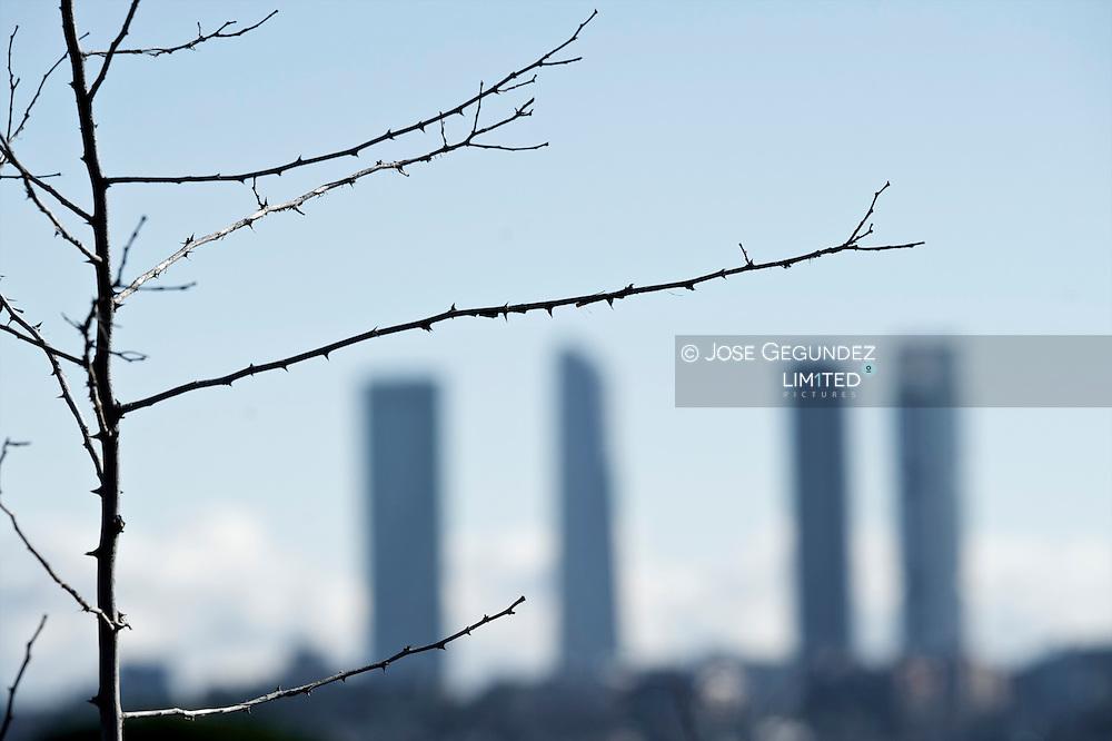 Madrid. Las Cuatro Torres. Los cuatro Rascacielos de la ciudad de Madrid en la Ciudad Deportiva del Real Madrid en el Paseo de la Castellana