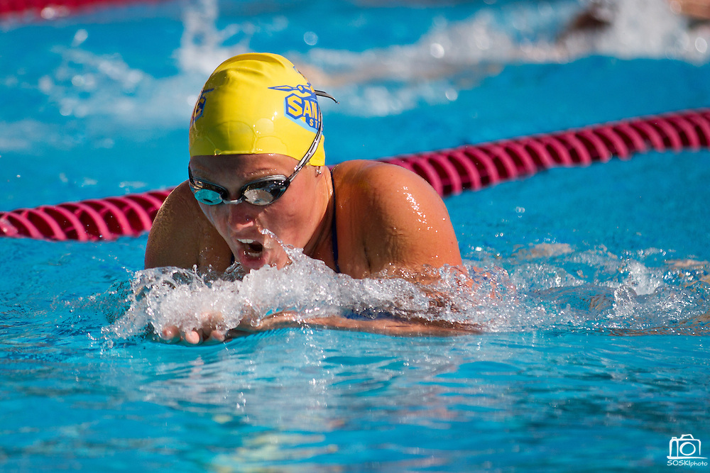 """San Jose State's women's swimming and diving team opened the season strong against Stanford, only trailing by 43 points at the Avery Aquatics Center, Stanford University, Palo Alto, Calif., on Sept. 30, 2011.  """"This is by far the best start we've ever had here,""""  said San Jose State head coach, Sage Hopkins.  The Spartans fell to Stanford 167-125. (Stan Olszewski/Spartan Daily)"""