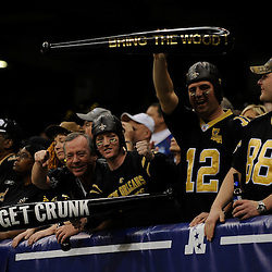 Jan 24, 2010; New Orleans, LA, USA; New Orleans Saints fan celebrate in the stands during the second half of the 2010 NFC Championship game at the Louisiana Superdome. Mandatory Credit: Derick E. Hingle-US PRESSWIRE