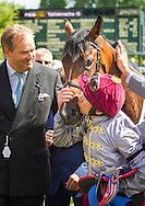 Frankie Dettori at the Qatar Goodwood Festival, better known as Glorious Goodwood. Day Three.<br /> Picture date: Thursday July 30, 2015.<br /> Photograph by Christopher Ison &copy;<br /> 07544044177<br /> chris@christopherison.com<br /> www.christopherison.com