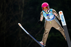 Kamila Karpiel of Poland soaring through the air during Trial Round at Day 1 of World Cup Ski Jumping Ladies Ljubno 2019, on February 8, 2019 in Ljubno ob Savinji, Slovenia. Photo by Matic Ritonja / Sportida