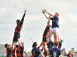 Westport's Eddie Dunning claims lineout ball during the Junior Cup Final.<br /> Pic Conor McKeown