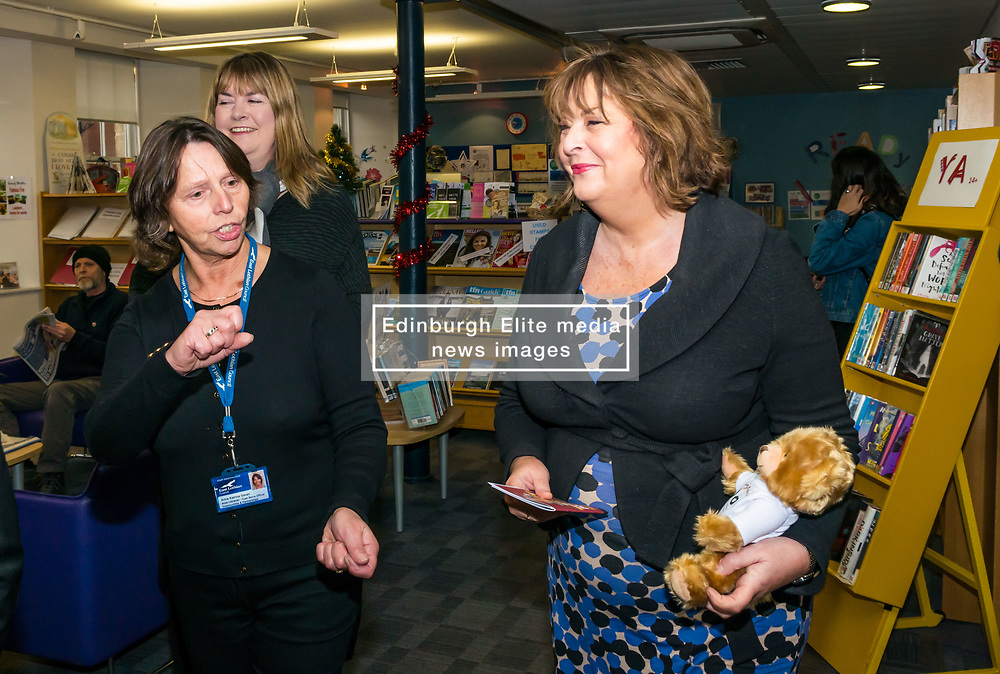 Pictured: Scottish Government Public Libraries Funding Announcement. Culture Minister Fiona Hyslop announces this year's successful bids to the £450,000 Public Library Improvement Fund (PLIF) at the John Grey Centre, Haddington Library, Haddington, East Lothian, Scotland, United Kingdom.  PLIF has been supporting innovative library projects since 2006 which help both individuals and communities. Fiona Hyslop talking to Trina Gavan, Area Librarian. 13 December 2018  <br /> <br /> Sally Anderson | EdinburghElitemedia.co.uk