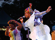 Vula Malinga and Sharlene Hector of the Basement Jaxx perform during the 30th Anniversary season of Central Park SummerStage in Rumsey Playfield in New York City, New York on July 01, 2015.