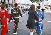 High school seniors flout their graduation colors in the Sannomiya district of Kobe, 2001.<br /> <br /> &copy; Torin Boyd 2003