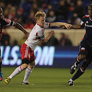 Kalifa Cisse, (right), New England Revolution, challenged by Dax McCarty, New York Red Bulls, during the New York Red Bulls V New England Revolution, Major League Soccer regular season match at Red Bull Arena, Harrison, New Jersey. USA. 20th April 2013. Photo Tim Clayton