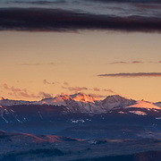 The sun sets over the Sawatch Mountain Range near Vail Colorado.