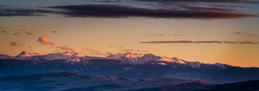 The sun sets over the Sawatch Mountain Range near Vail Colorado.