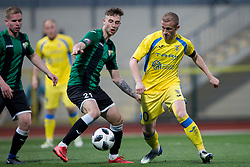 Jakob Novak of NK Rudar and Zeni Husmani of NK Domzale during football match between NK Domzale and NK Rudar in Round #28 of Prva liga Telekom Slovenije 2017/18, on April 22, 2018 in Sports Park Domzale, Domzale, Slovenia. Photo by Urban Urbanc / Sportida
