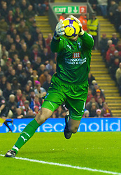 LIVERPOOL, ENGLAND - Wednesday, January 20, 2010: Tottenham Hotspur's goalkeeper Heurelho da Silva Gomes during the Premiership match at Anfield. (Photo by: David Rawcliffe/Propaganda)