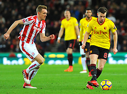 Darren Fletcher of Stoke City applies pressure on Tom Cleverley of Watford- Mandatory by-line: Nizaam Jones/JMP - 31/01/2018 - FOOTBALL - Bet365 Stadium - Stoke-on-Trent, England - Stoke City v Watford - Premier League