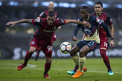 April 9, 2018 - Mexico City, MEXICO CITY, Mexico - Alvaro da Cruz Junior of Toronto FC struggles for the ball with Andres Ibarguen of Club America during 2018 CONCACAF Champions League Semifinals, Leg 2 match between Club America and Toronto FC at Azteca Stadium in Mexico City, Mexico on 10 April, 2018. (Credit Image: © Ernesto Perez/NurPhoto via ZUMA Press)