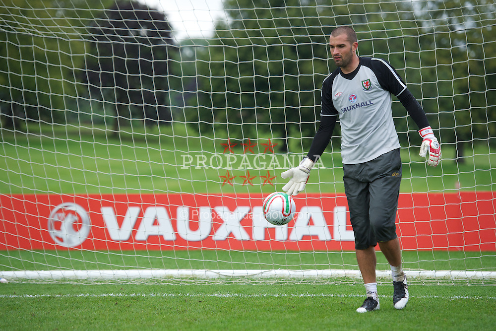 CARDIFF, WALES - Monday, August 8, 2011: Wales' goalkeeper Boaz Myhill during training at the Vale of Glamorgan ahead of the International Friendly match against Australia. (Photo by David Rawcliffe/Propaganda)
