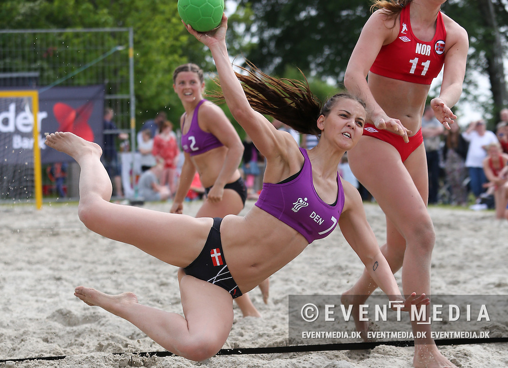 Pernille Ræhr Sørensen. Beach Handball - friendly matches between Denmark and Norway in Fjerritslev, May 24, 2014
