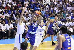 November 27, 2017 - Quezon City, NCR, Philippines - Jayson Castro William (7) of the Philippines drives past several players from Chinese Taipei to convert an uncontested lay-up during their FIBA World Cup Qualifying Match..Gilas Pilipinas defeated the visiting Chinese Taipei team 90-83 to complete a sweep of their first two assignments in the FIBA 2019 World Cup qualifiers. (Credit Image: © Dennis Jerome S. Acosta/Pacific Press via ZUMA Wire)