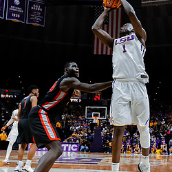 Jan 16, 2018; Baton Rouge, LA, USA; LSU Tigers forward Duop Reath (1) shoots over Georgia Bulldogs forward Derek Ogbeide (34) during the second half at the Pete Maravich Assembly Center. Georgia defeated LSU 61-60. Mandatory Credit: Derick E. Hingle-USA TODAY Sports