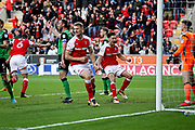Rotherham United defender Richard Wood (6) turns and celebrates his goal which put Rotherham 1-0 up during the EFL Sky Bet League 1 play off second leg match between Rotherham United and Scunthorpe United at the AESSEAL New York Stadium, Rotherham, England on 16 May 2018. Picture by Nigel Cole.