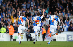 Bristol Rovers' Lee Brown celebrates with his team mates after scoring in front of the travelling fans - Photo mandatory by-line: Dougie Allward/JMP - Mobile: 07966 386802 26/04/2014 - SPORT - FOOTBALL - High Wycombe - Adams Park - Wycombe Wanderers v Bristol Rovers - Sky Bet League Two
