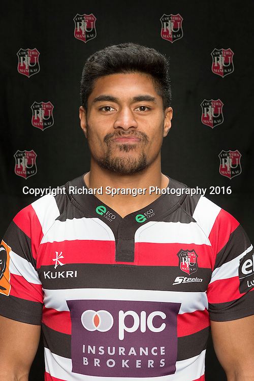 Sam Vaka.<br /> Headshots of the Counties Manukau Steelers rugby team to compete in the 2016 season of the Mitre 10 Cup Premiership.<br /> Photo credit: www.boprugby.co.nz