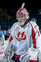 KELOWNA, CANADA - OCTOBER 16: Corbin Boes #1 of the Lethbridge Hurricanes stands on the ice against the Kelowna Rockets on October 16, 2013 at Prospera Place in Kelowna, British Columbia, Canada.   (Photo by Marissa Baecker/Shoot the Breeze)  ***  Local Caption  ***