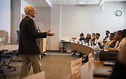 College of Business Dean Hugh Shermann speaks to participants in the Junior Executive Business Program. Photo by Ben Siegel