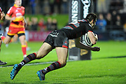 Edinburgh full back Blair Kinghorn scores a try during the Guinness Pro 14 2017_18 match between Edinburgh Rugby and Dragons Rugby at Myreside Stadium, Edinburgh, Scotland on 8 September 2017. Photo by Kevin Murray.