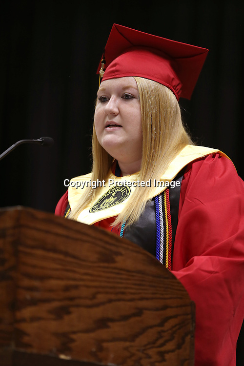 Adam Robison | BUT AT PHOTOS.DJOURNAL.COM<br /> Shannon High School Valedictorian Jessica Taylor Nicole Roe addresses her classmates during graduation at the BancorpSouth Arena Saturday in Tupelo.