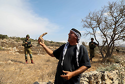 "October 8, 2018 - A day of voluntary olive picking near the settlement of Rahalim on an olive field part of the As-Sawiya Palestinian town, south of Nablus, in the presence of the Committee Against the Wall and Settlements, the Nablus governor and the British consul. Palestinian farmers usually need special permits to access their olive fields in the proximity of Israeli settlements, and sometimes they are even banned from them. Voluntary days of olive harvesting provide support and protections to these farmers when attending their fields and reduce the harassment from the Israeli army and settlers. Olives are a main source of income to hundreds of Palestinian families and being able to attend their fields is extremely important to them. A part from the continuous uprooting of olive trees and destruction of olive fields to make space to Israeli settlements and their expansion, to settlements roads, Israeli military zones, and the ""security wall"", farmers in the West Bank  have also witnessed several incidents of crop theft, olive trees chopping, harassment, and physical attacks by Israeli settlers. The Palestinian authority has no jurisdiction over Israelis in the West Bank,  which means that it can't prosecute Israeli settlers whose attacks often occur in the presence of Israeli military forces and are usually met with impunity (Credit Image: © Mohammed Turabi/IMAGESLIVE via ZUMA Wire)"