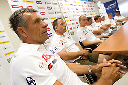 Vlado Makuc,  Burkhard Schaffer during press conference of Slovenian Men Alpine Ski Team, on August 22, 2011, in SZS, Ljubljana, Slovenia. (Photo by Vid Ponikvar / Sportida)