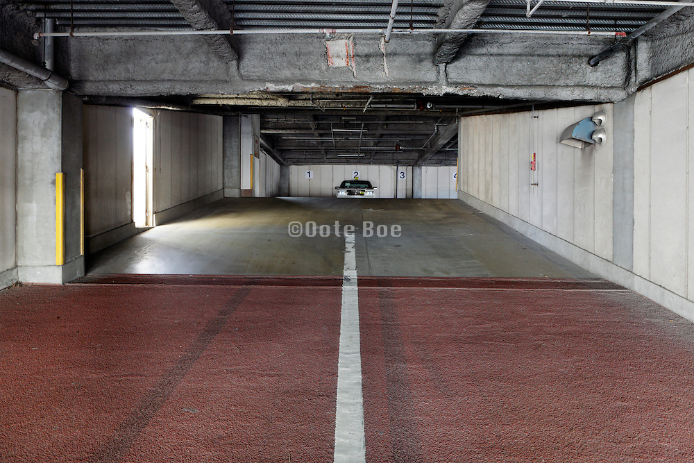 parking garage entrance with pedestrian side door exit