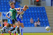 Callum Camps, Frankie Kent during the Sky Bet League 1 match between Colchester United and Rochdale at the Weston Homes Community Stadium, Colchester, England on 8 May 2016. Photo by Daniel Youngs.