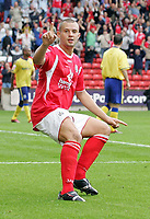 Photo: Paul Thomas.<br /> Barnsley v Southampton. Coca Cola Championship. 19/08/2006.<br /> <br /> Marc Richards celebrates his goal for Barnsley.
