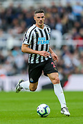Ciaran Clark (#2) of Newcastle United scorer of Newcastle United's goal in action during the Premier League match between Newcastle United and Arsenal at St. James's Park, Newcastle, England on 15 September 2018.