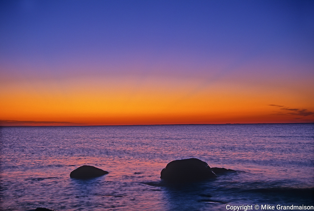 Lake Winnipeg at dawn<br /> Hecla Provincial Park<br /> Manitoba<br /> Canada