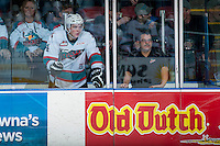 KELOWNA, CANADA - JANUARY 23: Gordie Ballhorn #4 of Kelowna Rockets stands in the penalty box against the Medicine Hat Tigers on January 23, 2016 at Prospera Place in Kelowna, British Columbia, Canada.  (Photo by Marissa Baecker/Shoot the Breeze)  *** Local Caption *** Gordie Ballhorn;