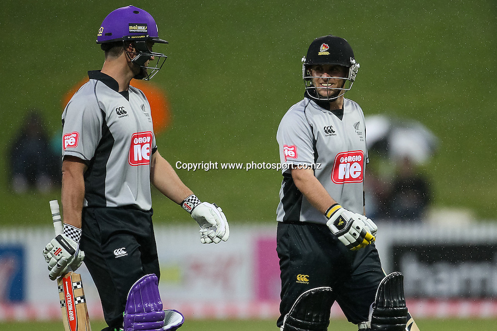 South Island's Neil Broom (L) and South Island's Michael Papps leave the ground due to rain during the Island of Origin T20 cricket game - North v South, 31 October 2014 played at Seddon Park, Hamilton, New Zealand on Friday 31 October 2014.  Photo: Bruce Lim / www.photosport.co.nz