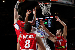 12.09.2014, City Arena, Madrid, ESP, FIBA WM, Frankreich vs Serbien, Halbfinale, im Bild France´s Gobert (C) and Serbia´s Raduljica, Bjelica and Bogdanovic // during FIBA Basketball World Cup Spain 2014 semifinal match between France and Serbia at the City Arena in Madrid, Spain on 2014/09/12. EXPA Pictures © 2014, PhotoCredit: EXPA/ Alterphotos/ Victor Blanco<br /> <br /> *****ATTENTION - OUT of ESP, SUI*****