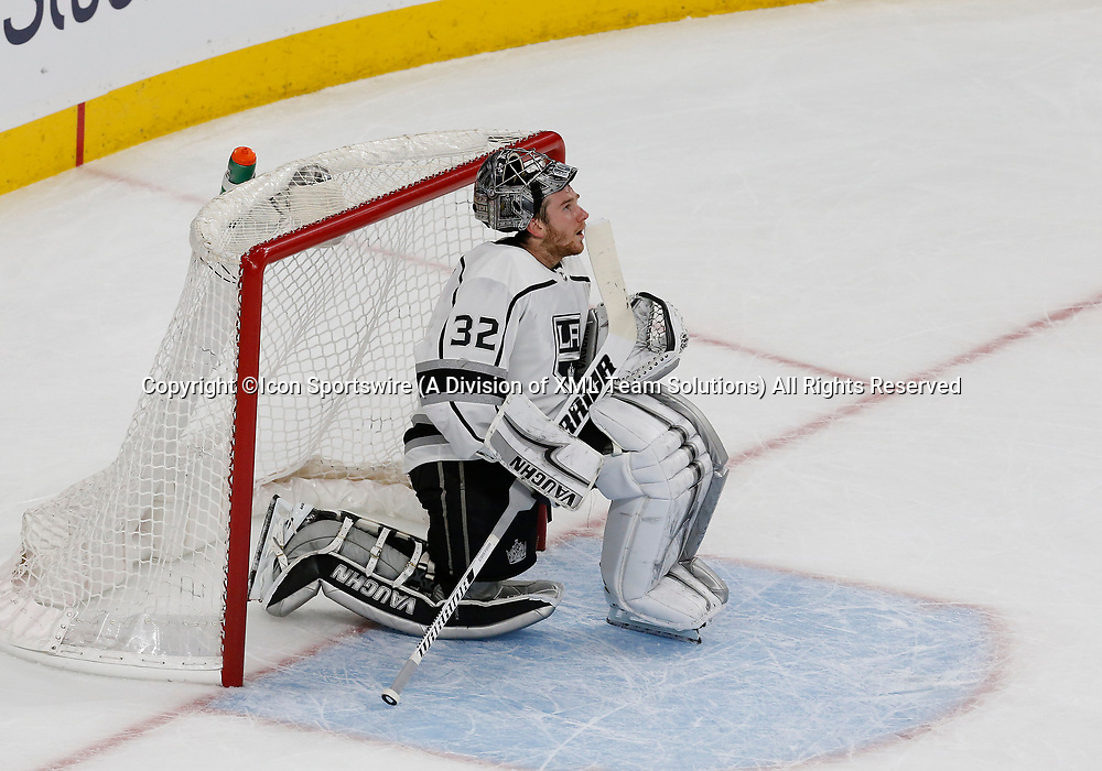 LAS VEGAS, NV - APRIL 11: Los Angeles Kings goaltender Jonathan Quick (32) looks up at the scoreboard during Game One of the Western Conference First Round of the 2018 NHL Stanley Cup Playoffs between the L.A. Kings and the Vegas Golden Knights Wednesday, April 11, 2018, at T-Mobile Arena in Las Vegas, Nevada. The Golden Knights won 1-0.  (Photo by: Marc Sanchez/Icon Sportswire)