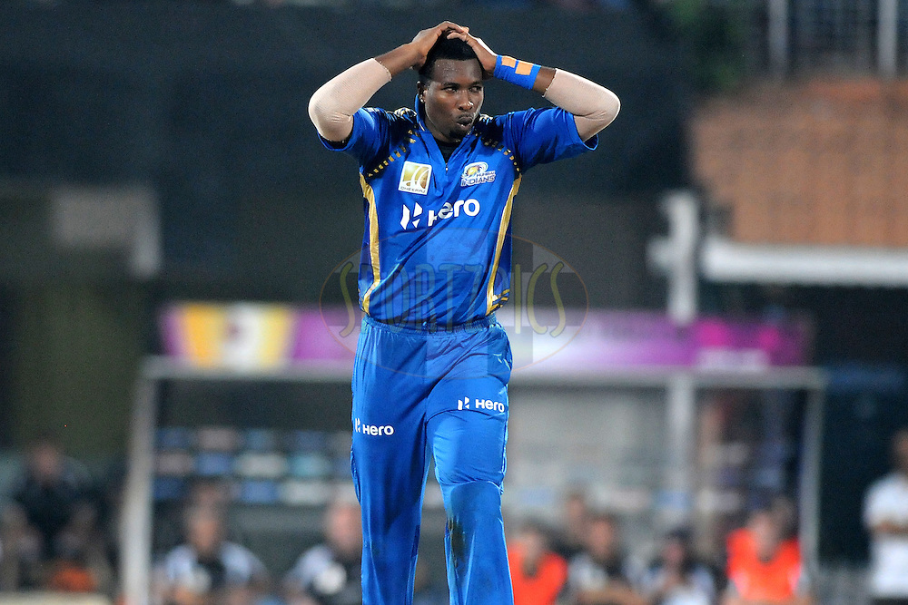 Kieron Pollard of Mumbai Indians reacts during the 2nd Semi Final of the NOKIA Champions League T20 ( CLT20 ) between Somerset and the Mumbai Indians held at the M. A. Chidambaram Stadium in Chennai , Tamil Nadu, India on the 8th October 2011..Photo by Pal Pillai/BCCI/SPORTZPICS